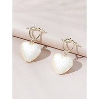 Heart Shaped Faux Pearl Drop Earrings