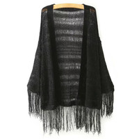 Knitted Fringed Cardigan