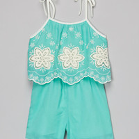 Just Kids Mint Embroidered Romper - Girls   zulily