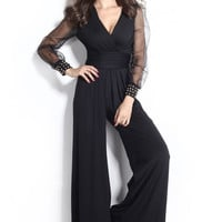 Elegant Jumpsuit Black V-neck Embellish Cuff Sleeves
