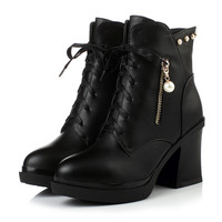 Pearl Chunky Heel Pumps Ankle Boots High Heels Women Shoes Fall|Winter 6516