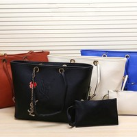 """Yves Saint Laurent YSL"" Women Fashion Casual Letter Embossed Handbag Single Shoulder Bag Set Two-Piece"