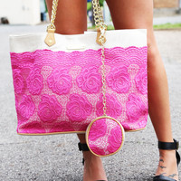 Lace Over Tote {Pink}