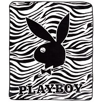 Playboy - Classic Bunny White Zebra Stripes King Blanket