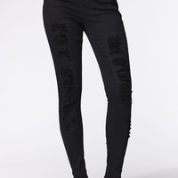 Kendall & Kylie High Rise Skinniest Patch & Repair Jeans - Womens Jeans - Black -