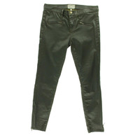 Current/Elliott Womens The Soho Zip Stiletto  Mid-Rise Coated Skinny Pants - 30 / Army Green