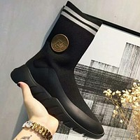 FENDI early autumn socks boots wool color matching wild color matching ankle boots F-OMDP-GD black