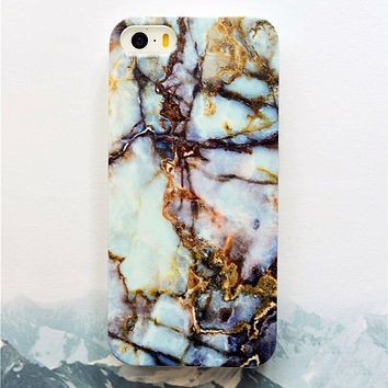 Gold Blue & Brown Marble Phone Case-iPhone