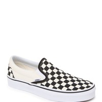 Vans Classic Black White Check Slip On Shoes - Womens Shoes - Black