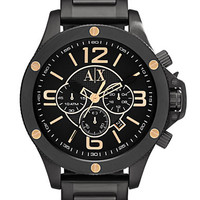 Armani Exchange Mens Black and Rose Gold Tone Chronograph Watch