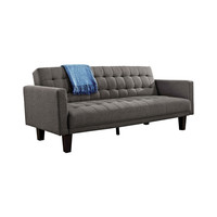 Modern Futon Style Sleeper Sofa Bed in Upholstered in Gray Linen Fabric