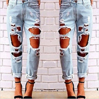 Women's Sexy Destroyed Ripped Distressed Denim Harem Pants Boyfriend Jeans New