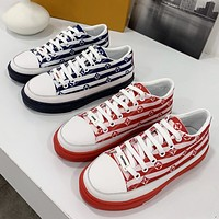 Louis Vuitton LV new women's silk color canvas casual sneakers Shoes
