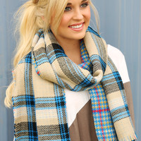 Feel This Moment Scarf: Blue/Multi - One