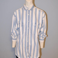 Vintage 1990's Denim Button Down Shirt Blue and White Vertical Stripes Oxford Dress Shirt Blue Jean Shirt Relaxed Fit Women's Size Small