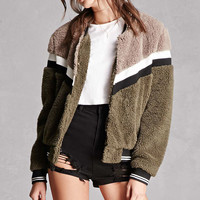 Striped Faux Fur Bomber Jacket