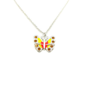 Yellow Butterfly Necklace, Charm Necklace, Butterfly Charm Jewelry, Butterfly Pendant, Silver Butterfly Jewelry, Jewelry Gift, Gift Under 20