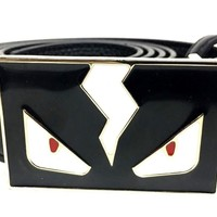 Fendi Monster Belt Black Leather White Buckle Men's 38 Designer Birthday Gift
