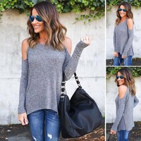 Women's Fashion Winter Round-neck Long Sleeve Slim T-shirts [11182518919]