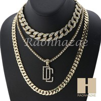 "14K GOLD PT DREAM CHASERS MIAMI CUBAN 16""~30"" CHOKER TENNIS CHAIN S029"