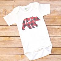 Baby Bear Red and Black Buffalo Plaid Onesuit - Rustic Theme Baby Shower Present - Country Farmhouse Newborn Bodysuit