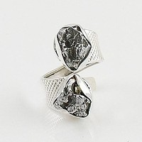 Campo de Cielo Meteorite Sterling Silver Adjustable Ring