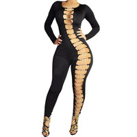 2015 Plus Size Rompers Womens Jumpsuit Long Sleeve Sexy Club Bandage Jumpsuit Hollow Out Chain Bodysuit Playsuit Black