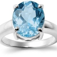 Sterling Silver Oval Blue Topaz Ring: Jewelry: Amazon.com