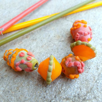 Lampwork Beads, Etched Glass Lampwork Bead Set, Autumn Colors, Fashion Unique handmade Bead Set for Handmade Glass Jewelry
