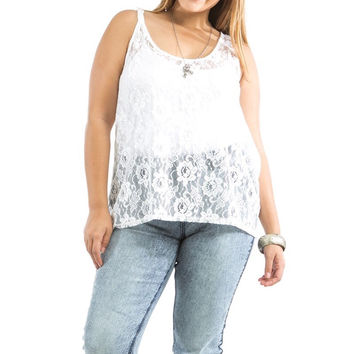 Plus Size Sheer Front Lace & Solid Back Tank Top in Ivory