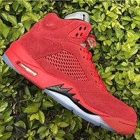 Air Jordan 5 Retro Raging Bull Flight Suit Red Suede AJ5 Sneakers