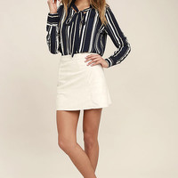 Get Down to Business Navy Blue Striped Long Sleeve Top