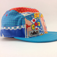 Handmade Five Panel Cap . 5 panel hat . Camp Cap . One of a kind hat .  Skateboarding Hat . Summer Cap. Art Hat . made and ready to ship