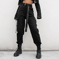 High Waisted Black Nylon Cargo Pants