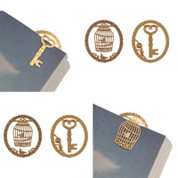 Lace Cutout Gold Metal Cute Students Page Clip Bookmarks for Reading Gift-birdcage