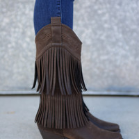 2 Layer Fringe Cowgirl Boots {Brown}