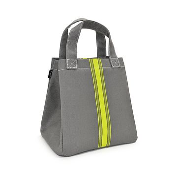 NEW! Lunch + Pie Tote - Mod Stripe Lime/ Ash