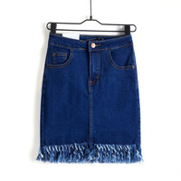 Summer Denim With Pocket Dress Skirt [4919973636]