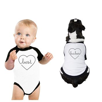Best Babes Baby and Pet Matching Black And White Baseball Shirts
