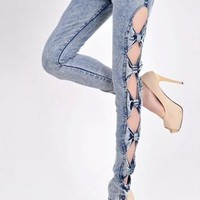 Blue bowknot jeans from fashiondress