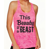 This Beauty Is A Beast Tank Top. Beast Mode. Weight Lifting. Workout Tank Top. Motivational Workout. Crossfit. Kickboxing. Disney.