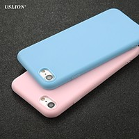 USLION Phone Case For iPhone 7 6 6s 8 X Plus 5 5s SE XR XS Simple Solid Color Ultrathin Soft TPU Cases Candy Color Back Cover