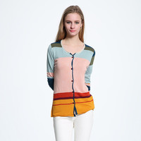 Knit Mixed Color Women Loose Long Sleeve V Neck _ 10129