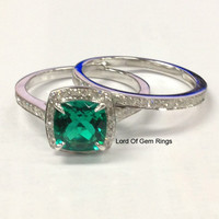 Cushion Emerald Engagement Ring Sets Pave Diamonds Wedding 14K White Gold,8x8mm Claw Prongs