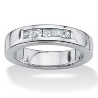 Men's .60 TCW Emerald-Cut Cubic Zirconia Platinum over Sterling Silver Wedding Band
