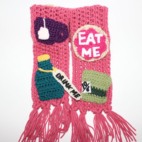 Alice In Wonderland crochet scarf Mad Tea Party inspired unbirthday unique scarf