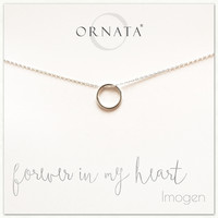 """Forever in My Heart"" Sterling Silver Circle Necklace on Personalized Jewelry Card"