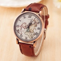 Vintage GPS World Map Leather Watch