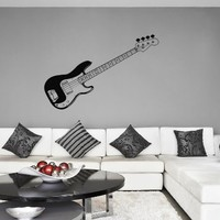 ik790 Wall Decal electric bass guitar star music song artist notes chords rock