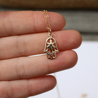 Hamsa Hand Necklace - Yoga Jewelry . Solid Bronze Hamsa Hand with Flower . 14K Gold-filled Chain . Protection & Good Luck